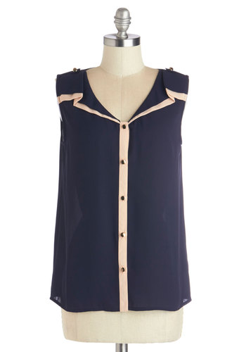 Agenda Update Top - Good, Blue, Sleeveless, Blue, Solid, Buttons, Work, Sleeveless, Sheer, Woven, Mid-length, Tan / Cream