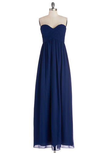 Gliding through the Garden Dress in Navy - Maxi, Prom, Wedding, Bridesmaid, Long, Chiffon, Woven, Blue, Solid, Ruching, Special Occasion, Strapless, Best, Sweetheart, Variation