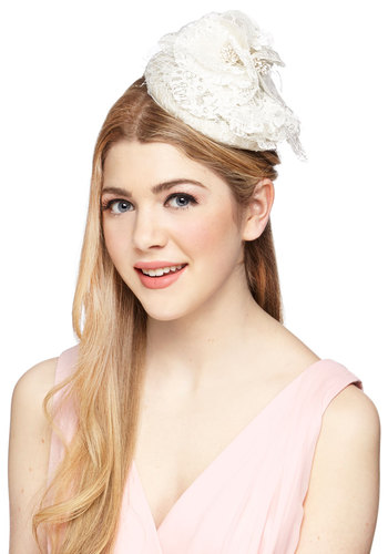 To a Tea Time Fascinator - Cream, Solid, Lace, Wedding, Bridesmaid, Bride, Vintage Inspired, 20s, Luxe, Special Occasion