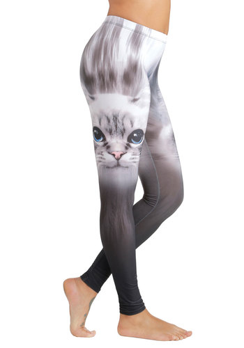Furry Happy to See You Leggings - Skinny, Good, Mid-Rise, Full length, Grey, Non-Denim, Knit, Multi, Novelty Print, Casual, Quirky, Cats, Critters, Spring, Summer, Lounge