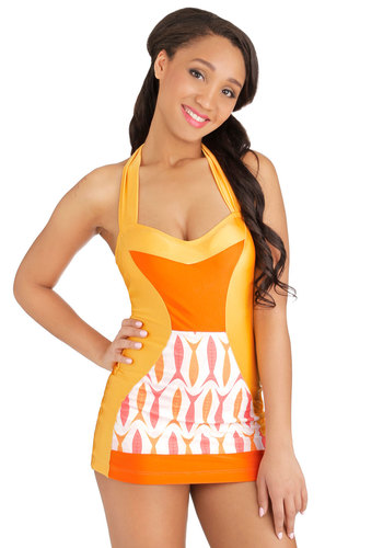 Flamingo to the Shore One-Piece Swimsuit in Fish by Fables by Barrie - Knit, Orange, Multi, Print with Animals, Beach/Resort, Halter, Summer, Swim Dress, Critters