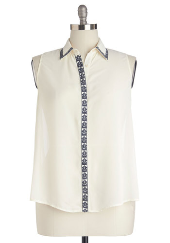 Portland Mainstage Top in Plus Size - Sheer, Mid-length, Woven, White, Blue, Embroidery, Work, Casual, Sleeveless, Collared