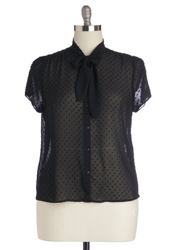 First Round's On Me Top in Plus Size - Black, Solid, Buttons, Tie Neck, Work, Cap Sleeves, Sheer