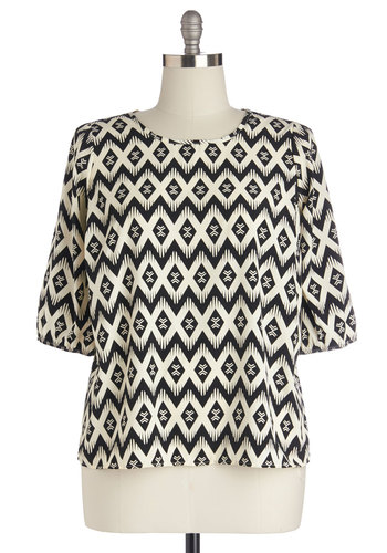 Deco Daydreams Top in Plus Size - Woven, Black, White, Print, 3/4 Sleeve, Scoop
