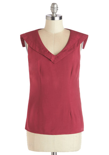 Inspiring Breeze Top by Myrtlewood - Woven, Mid-length, Nautical, Red, Solid, Sleeveless, Exclusives, Private Label, Red, Sleeveless, Spring, Summer