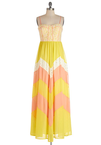 Sunny, I'm Home Dress - Yellow, Coral, Chevron, Lace, Trim, Casual, Maxi, Spaghetti Straps, Better, Long, Woven, Boho, Festival, Summer