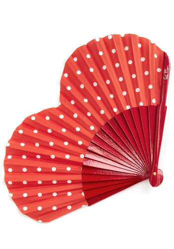 Opening Your Heart Fan - Red, White, Polka Dots, Cotton, Best, Red, Summer