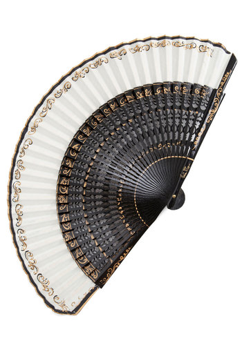 Keeping It Regal Fan - Black, White, Gold, Solid, Trim, French / Victorian, Cotton, Halloween