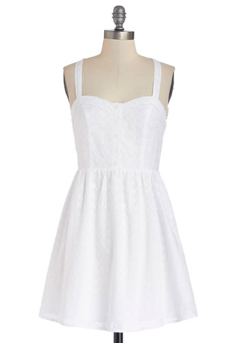 All Days Celebration Dress - White, Buttons, Eyelet, A-line, Tank top (2 thick straps), Good, Sweetheart, Cotton, Woven, Short, Solid, Casual, Sundress, Summer
