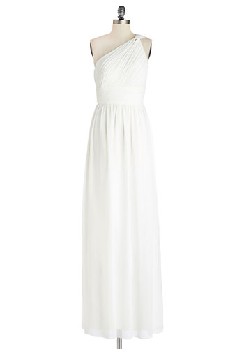 Swaying Embrace Dress - Maxi, White, Prom, Wedding, Bride, Solid, One Shoulder, Best, Chiffon, Woven, Long, Ruching, Special Occasion