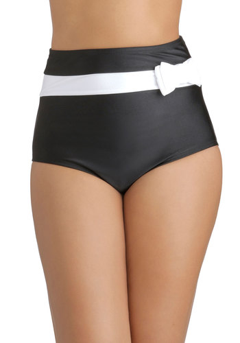 Maritime and Again Swimsuit Bottom in Black by Fables by Barrie - Knit, Black, White, Solid, Bows, Beach/Resort, Pinup, Vintage Inspired, 40s, 50s, High Waist, Summer