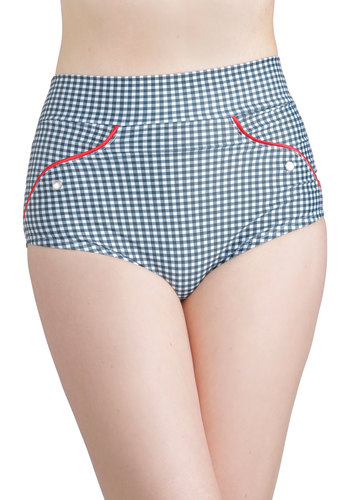 Wading on a Sunny Day Swimsuit Bottom by Fables by Barrie - Knit, Multi, Red, Blue, White, Checkered / Gingham, Beach/Resort, Vintage Inspired, 40s, 50s, High Waist, Summer, Underwire, Americana