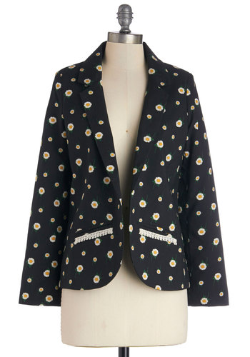Flower Market Browsing Blazer by Sugarhill Boutique - Woven, Mid-length, Black, Yellow, White, Floral, Pockets, Work, Daytime Party, Long Sleeve, 2, Spring