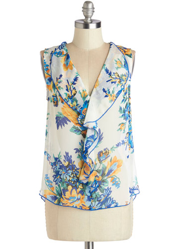 Flourish of Fancy Top - Chiffon, Sheer, Woven, Short, Multi, Floral, Ruffles, Work, Sleeveless, Spring, Multi, Sleeveless