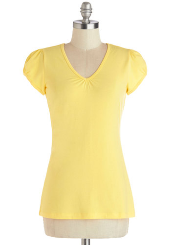 It's Simple, Really Tee in Lemon - Mid-length, Knit, Yellow, Solid, Casual, Yellow, Short Sleeve, Variation, V Neck, Cap Sleeves, Basic, Spring, Summer, Good