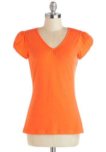 It's Simple, Really Tee in Tangerine - Knit, Mid-length, Orange, Solid, Casual, Variation, V Neck, Orange, Short Sleeve, Cap Sleeves, Basic, Spring, Summer, Good