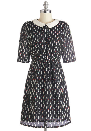 Animal Educator Dress by Louche - Woven, Mid-length, Black, White, Print with Animals, Peter Pan Collar, Casual, Cats, A-line, Short Sleeves, Better, Collared, Pockets, Darling, Critters