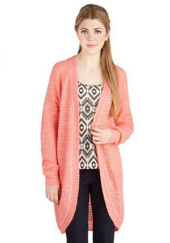 Coral Calling Cardigan - Knit, Solid, Pastel, Long Sleeve, Spring, Pink, Long Sleeve, Coral, Casual, Long