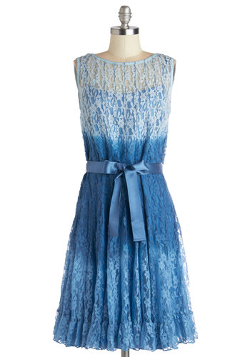 As Fade Would Have It Dress - Blue, Ombre, Lace, Belted, Party, A-line, Sleeveless, Better, Spring, Sheer, Woven, Lace, Long, Special Occasion, Wedding