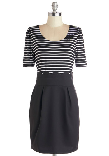 All in a Day's Work Dress by Kling - Black, White, Stripes, Pleats, Pockets, Scallops, Twofer, Short Sleeves, Better, Scoop, Knit, Woven, Mid-length, Work