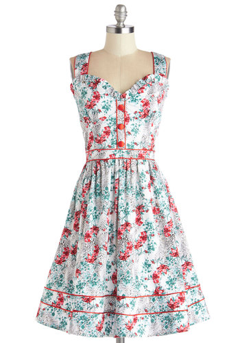 Cocktails to Tell Dress - Multi, Floral, Buttons, Trim, Daytime Party, Fit & Flare, Tank top (2 thick straps), Better, Sweetheart, Long, Woven, Vintage Inspired, 50s