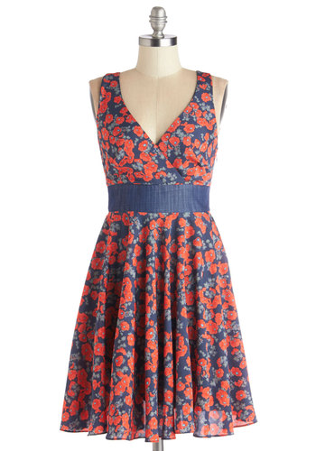 Darling Debut Dress - Woven, Mid-length, Red, Blue, Floral, Belted, Casual, A-line, Tank top (2 thick straps), Better, V Neck