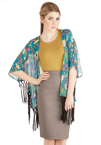 Breeze Toward the Bungalow Jacket - Good, Blue, Woven, Long, Chiffon, Sheer, Blue, Multi, Floral, Fringed, Daytime Party, Festival, Short Sleeves, 1, Spring, Summer, Top Rated