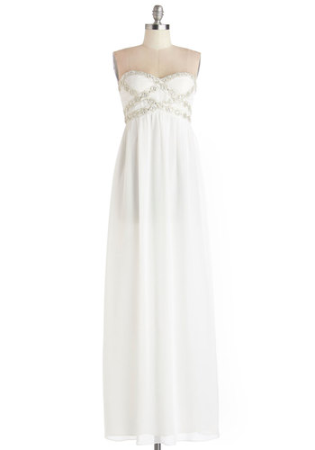 Own the Spotlight Dress in White - Chiffon, Long, Woven, White, Solid, Rhinestones, Special Occasion, Prom, Maxi, Variation, Sweetheart, Wedding, Bride