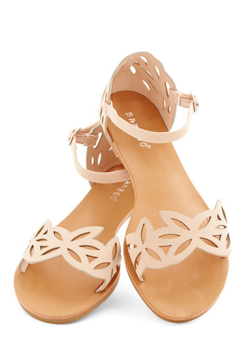 Ice and Easy Sandal - Flat, Faux Leather, Pink, Cutout, Beach/Resort, Fairytale, Good, Solid, Daytime Party, Summer