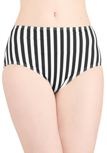 Dive for Excellence Swimsuit Bottom in Black and White - Knit, Black, White, Stripes, Novelty Print, Beach/Resort, Pinup, High Waist, Summer, Exclusives, Underwire