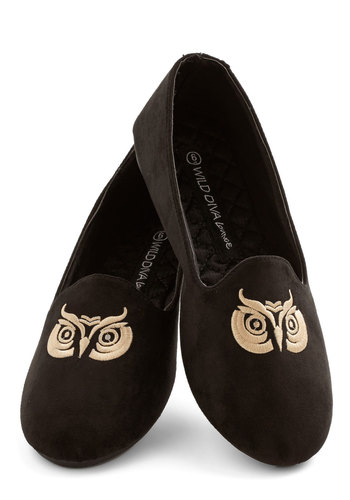 Hoot's to Say? Flat - Flat, Faux Leather, Black, Tan / Cream, Print with Animals, Embroidery, Casual, Menswear Inspired, Owls, Critters, Good, Top Rated, Woodland Creature