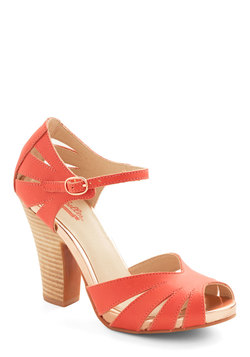 On the Floor Heel in Coral