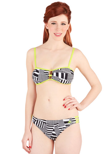 Wade It Out Swimsuit Top - Knit, Green, Black, White, Print, Cutout, Beach/Resort, Neon, Summer