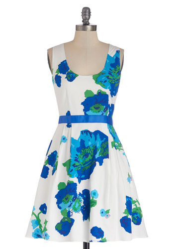 Bright Over Here Dress by BB Dakota - Wedding, Bridesmaid, Blue, White, Floral, Pockets, Daytime Party, Graduation, Fit & Flare, Tank top (2 thick straps), Spring, Exclusives, Better, Woven, Mid-length, A-line, Scoop, Show On Featured Sale