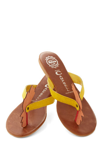 Roost Your Spirits Sandal by Jeffrey Campbell - Flat, Leather, Yellow, Orange, Beach/Resort, Quirky, Better, Print with Animals, Casual, Critters, Summer