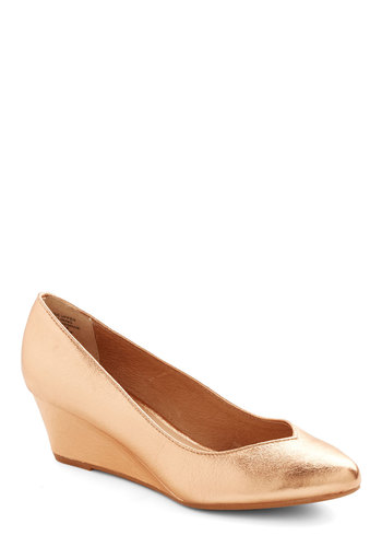 High Hopes Wedge in Rose Gold by Seychelles - Mid, Faux Leather, Gold, Solid, Work, Graduation, Better, Daytime Party