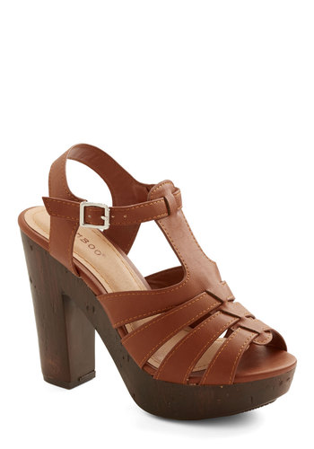 Croissants and Soda Heel - High, Faux Leather, Solid, Cutout, Daytime Party, Good, Platform, Chunky heel, Brown, Boho, Vintage Inspired, 70s