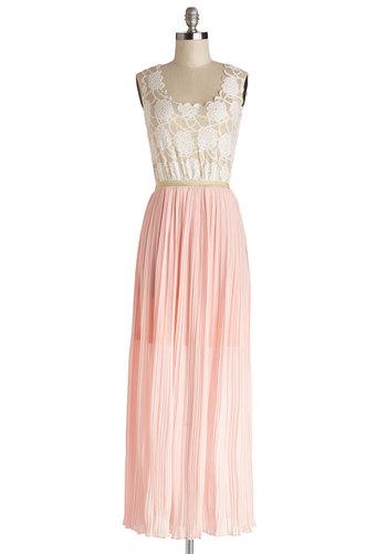 The Gown Princess Dress - Pink, Scallops, Wedding, Party, Bridesmaid, Maxi, Sleeveless, Good, Chiffon, Woven, Mixed Media, Long, Tan / Cream, Pleats