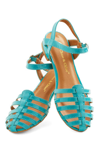 Wow the Crowd Sandal in Turquoise - Low, Faux Leather, Solid, Spring, Summer, Good, Strappy, Blue, Beach/Resort, Variation