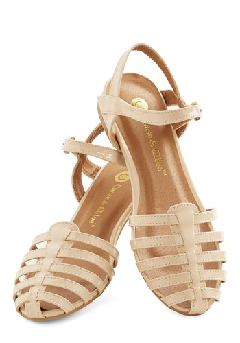 Wow the Crowd Sandal in Beige - Low, Sheer, Faux Leather, Tan, Solid, Casual, Daytime Party, Beach/Resort, Spring, Summer, Good, Strappy, Variation