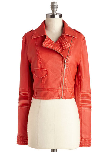 Time for Cool Jacket - Short, Faux Leather, Orange, Solid, Epaulets, Pockets, Urban, Cropped, Long Sleeve, 2