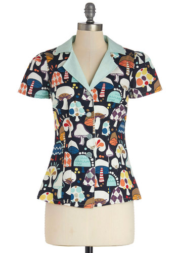 Drive-in Diner Top in Mushroom by Bea & Dot - Mid-length, Cotton, Woven, Multi, Novelty Print, Mushrooms, Short Sleeves, Exclusives, Private Label, Multi, Short Sleeve, Vintage Inspired, Buttons, 40s, 50s, Variation, Quirky