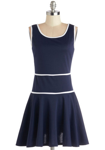 Drop by and Delight Dress - Knit, Short, Blue, White, Trim, Casual, Nautical, Drop Waist, Sleeveless, Good, Scoop, Top Rated