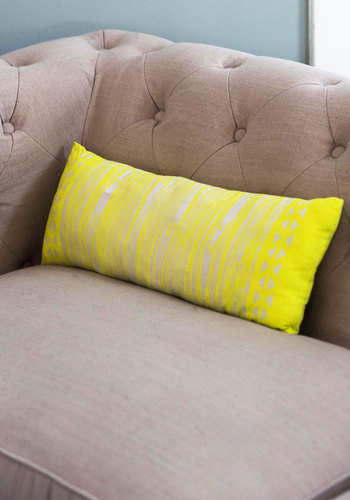 Contemporary Campfire Pillow - Yellow, Rustic, Good, Woven, White, Novelty Print, Exclusives, Festival, Summer, Boho