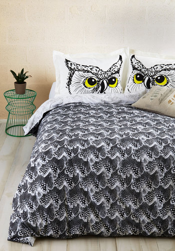 Fly Off to Dreamland Duvet Cover in Full/Queen - Best, Cotton, Woven, Black, White, Print, Feathers, Exclusives, Critters, Bird, Woodland Creature