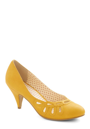 Lively in Loops Heel in Yellow by Bait Footwear - Yellow, Solid, Cutout, Party, Work, Vintage Inspired, Mid, Faux Leather, Better, 50s, Variation