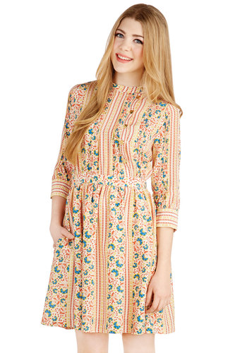 Lauren Moffatt Fairest at the Fair Dress by Lauren Moffatt - Multi, Floral, Buttons, Pockets, Ruffles, Daytime Party, A-line, 3/4 Sleeve, Best, Festival, Woven, Long, Boho, Vintage Inspired, 70s, Show On Featured Sale