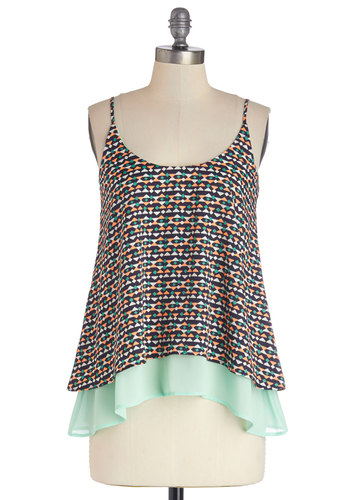 A Cute Angle Top - Multi, Sleeveless, Woven, Mid-length, Multi, Print, Sleeveless, Spring, Summer, Casual, Festival, Pastel, Social Placements, Good