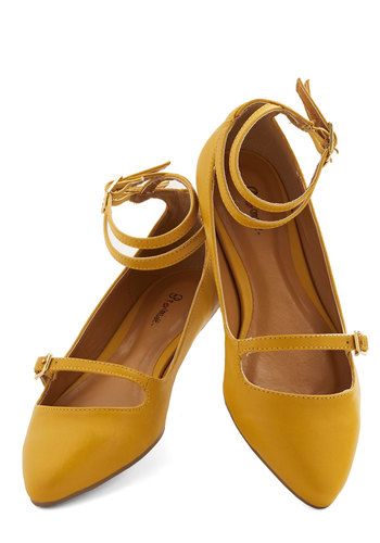 Just Feels Right Flat - Flat, Faux Leather, Yellow, Solid, Work, Daytime Party, Good, Strappy