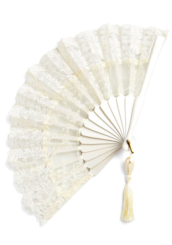 Lace Enchantment Fan - Cream, Solid, Lace, Tassels, French / Victorian, Lace, Best, Wedding, Bride, Summer, Social Placements, Press Placement